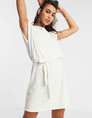 Bershka tie-waist padded shoulder dress in ecru