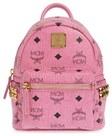 mcm xmini stark side stud convertible backpack pink