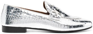 Golden Goose Crocodile-Effect Star Patch Loafers