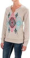 Rock & Roll Cowgirl Split Neck Aztec Print Sweatshirt (For Women)