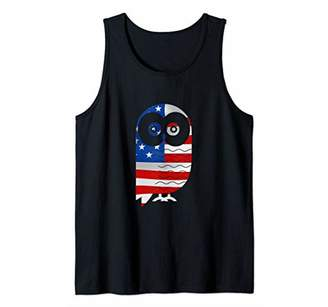 Owl Mom Funny Gift for Women American Flag Tank Top
