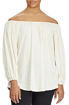 Lauren Ralph Lauren Plus Smocked Off-the-Shoulder Top