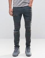 Asos Super Skinny Jeans Rip And Repair With Biker Details