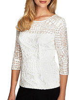 Alex Evenings 3/4 Sleeve Embroidered Illusion Yoke Blouse