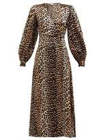 Ganni Silk Blend Wrap Dress In Leopard - 36