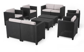 Christopher Knight Home Waverly Outdoor Faux Wicker 8 Seater Chat Set with Cushions