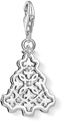 Thomas Sabo Women-Charm Pendant X-mas tree Charm Club 925 Sterling Silver Zirconia white 1321-051-14