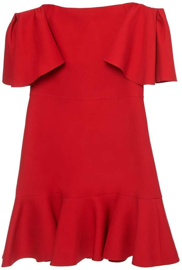 Valentino Off the Shoulder Ruffle Crepe Mini Dress