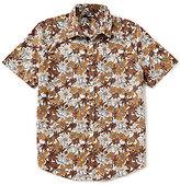 Murano Floral Print Short-Sleeve Slim-Fit Point Collar Sportshirt