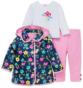 Little Me Baby Girls Three-Piece Floral-Print Jacket, Top & Leggings Set