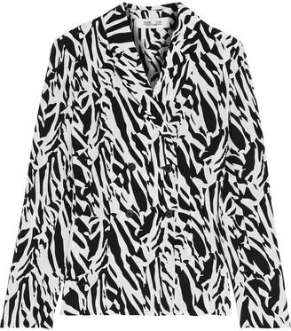 Diane von Furstenberg Courtney Zebra-print Silk Crepe De Chine Jacket