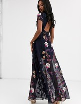 Frock and Frill embellished cut out back short sleeve maxi dress