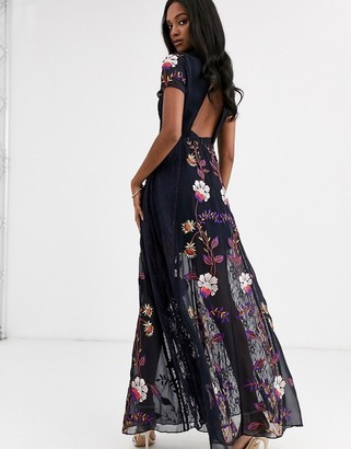 Frock and Frill embellished cut out back short sleeve maxi dress-Navy
