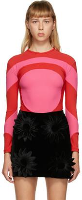 Paula Canovas Del Vas Red and Pink Lycra Long Sleeve T-Shirt