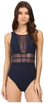 Jets Aspire Mesh Insert Panelled High Neck One-Piece
