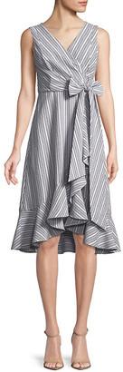 Calvin Klein Ruffle Trim Wrap Dress