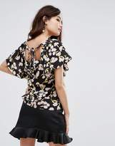 Fashion Union Tie Back Top In Floral