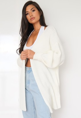 Missguided White Tuck Sleeve Knitted Cardigan