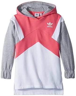 adidas Kids Kids Modern French Terry Hoodie (Little Kids/Big Kids) (Real Pink/White/Medium Grey Heather) Girl's Sweatshirt