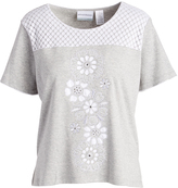 Alfred Dunner Gray & White Perforated Floral Top - Petite