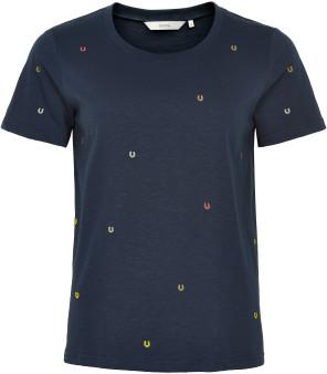 Nümph Nuamali Sapphire Blue Tiny Horse Shoe embroidered Cotton T Shirt - sapphire | cotton | xs - Sapphire