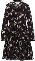Valentino Embellished Floral-print Silk Crepe De Chine Dress - Black