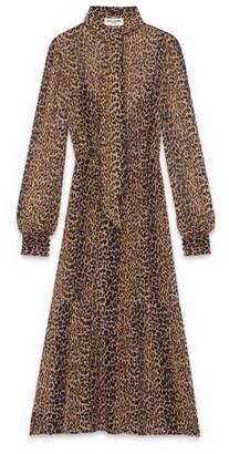 Saint Laurent Silk Leopard Print Maxi Dress