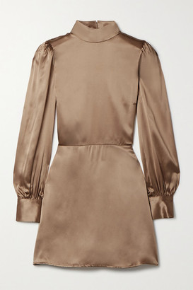 Reformation Kim Open-back Silk-satin Mini Dress - Bronze