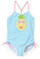 Kate Mack Girls' One Piece Swimsuits MULTI - Blue & Pink Stripe Pineapple One-Piece - Toddler & Girls
