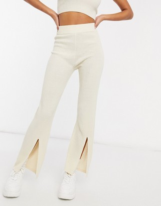 ASOS DESIGN co-ord knitted trouser with side split in cream