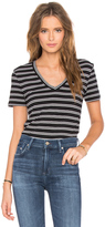 Bobi Double Stripe Jersey V Neck Tee