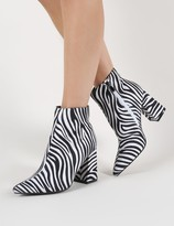 Public Desire Hollie Pointed Toe Ankle Boots in Zebra Print