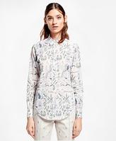 Brooks Brothers Petite Botanical-Print Cotton Poplin Shirt