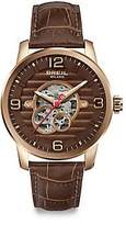 Breil Milano Men's Miglia Brown Leather Band Rose Gold Case Automatic Watch TW1258