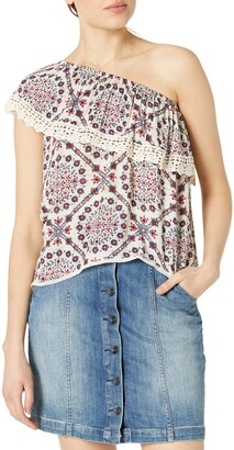 Jolt Women's Printed One Shoulder Top with Lace Trim