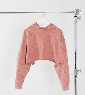 ASOS DESIGN Petite cropped hoodie in washed blush