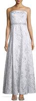 Carmen Marc Valvo Strapless Embellished-Waist Gown, Silver