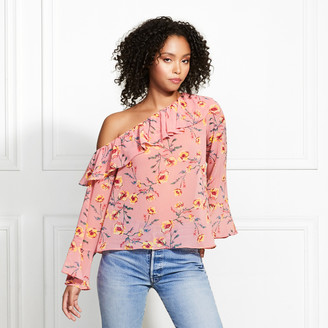 Rachel Zoe Rickie Poppy Print One-Shoulder Blouse