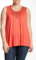 Bobeau Embroidered Scoop Neck Tank (Plus Size)