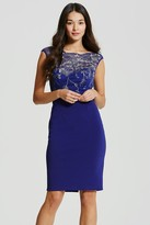 Little Mistress Cobalt and Gold Embroidered Dress