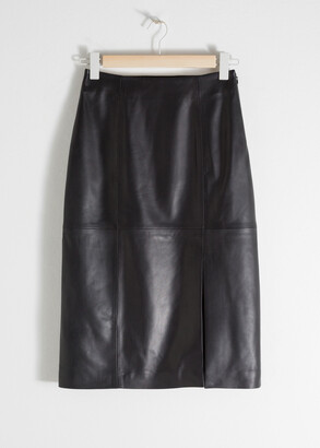 And other stories Midi Leather Pencil Skirt