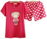 JOYHY Women's Short Sleeve Cotton Cute Bear Pattern 2 Pieces Pajamas