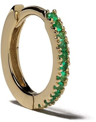 White Bird 18kt gold emerald Margot medium single hoop earring