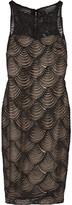 Badgley Mischka Satin-appliquéd stretch-knit dress