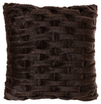 Madison Home USA Solid Ruched Fur Square Pillow, Brown