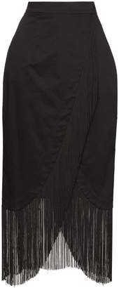 Taller Marmo wrap-front fringed skirt