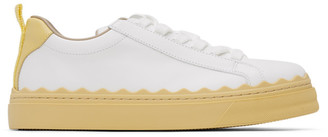 Chloé White and Yellow Lauren Sneakers