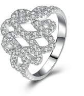 Epinki Women Rings, 925 Sterling Ring Proposal Ring Hollow Flower Cubic Zirconia Size 10