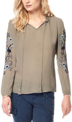 Ecru Embroidered Sleeve Top