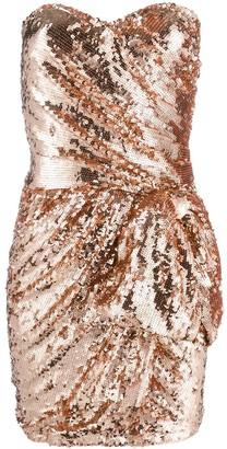 Elisabetta Franchi Sequin Embellished Ruched Mini Dress